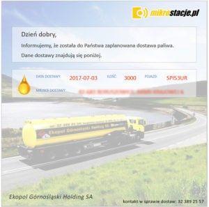 Informacje o szczegółach dostaw paliw